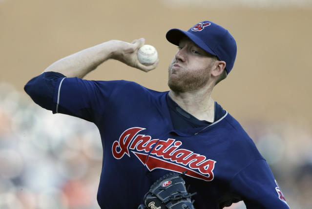 Cleveland Indians starting pitcher Zach McAllister throws during the first inning in the second baseball game of a doubleheader against the Detroit Tigers, Saturday, July 19, 2014 in Detroit. (AP Photo/Carlos Osorio)