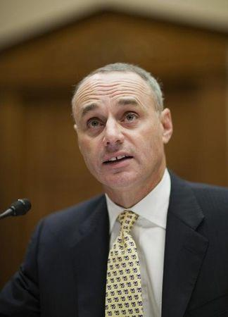 Rob Manfred, executive vice president of labor and human resources in the Office of the Commissioner of Major League Baseball, testifies in Washington