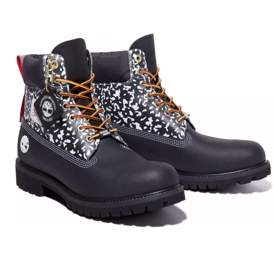 """<p><strong>Desus & Mero x Timberland</strong></p><p>timberland.com</p><p><strong>$210.00</strong></p><p><a href=""""https://go.redirectingat.com?id=74968X1596630&url=https%3A%2F%2Fwww.timberland.com%2Fshop%2Fmens-desus-mero-x-timberland-waterproof-6-inch-boots-black-a2n9r001&sref=https%3A%2F%2Fwww.esquire.com%2Fstyle%2Fmens-fashion%2Fg34601477%2Fbest-new-menswear-november-14-2020%2F"""" rel=""""nofollow noopener"""" target=""""_blank"""" data-ylk=""""slk:Buy"""" class=""""link rapid-noclick-resp"""">Buy</a></p>"""