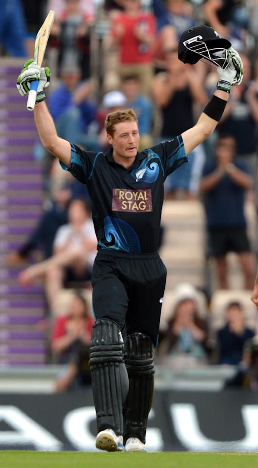 New Zealand's Martin Guptill celebrates scoring 100 not out during the Second One Day International at the Ageas Bowl, Southampton.