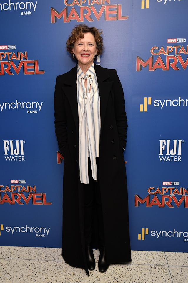 <p>Annett Bening, 60, proved you don't need a dress for a starry film premiere in a chic oversized shirt and sweeping coat. <em>[Photo: Getty]</em> </p>
