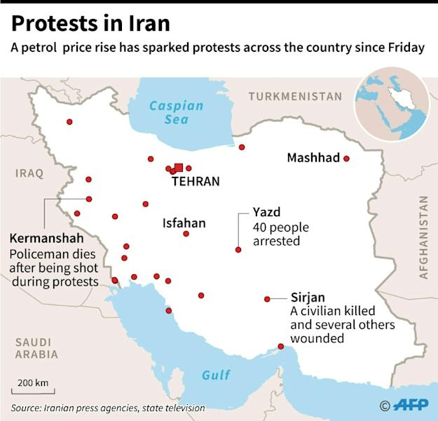 Map locating protests in major cities across Iran since Friday following a rise in petrol prices