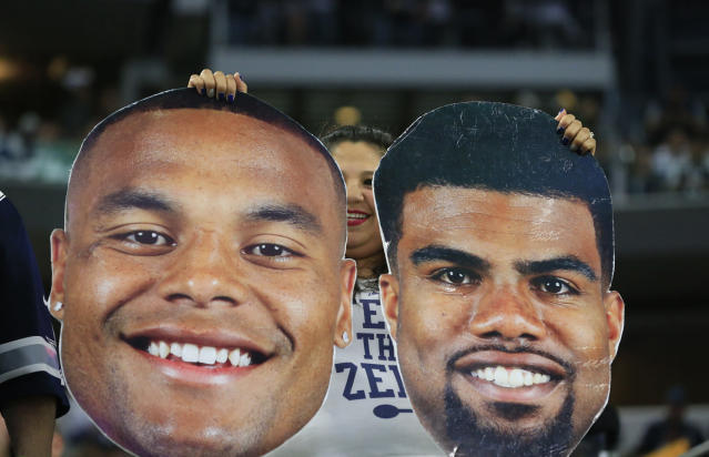 "<a class=""link rapid-noclick-resp"" href=""/nfl/players/29238/"" data-ylk=""slk:Ezekiel Elliott"">Ezekiel Elliott</a>, by himself, can only elevate a team so high in this fantasy index. Dak helps a bit, too. (AP Photo/Ron Jenkins, File)"