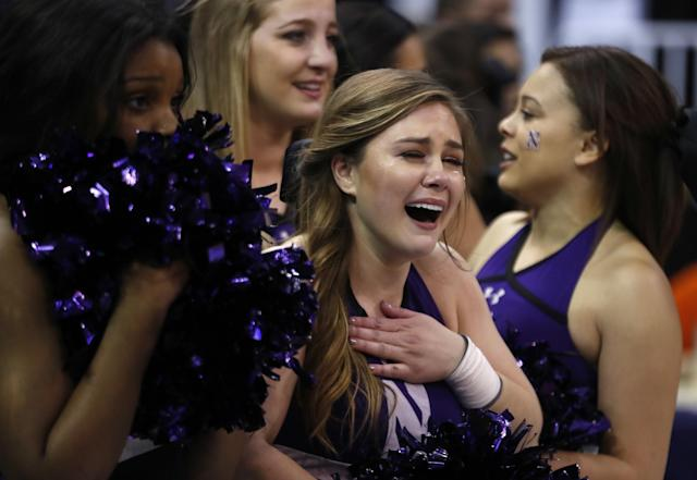 <p>Northwestern cheerleaders cry after losing to Gonzaga after a second-round college basketball game in the men's NCAA Tournament, Saturday, March 18, 2017, in Salt Lake City. (AP Photo/George Frey) </p>