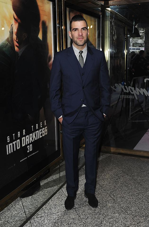 """Zachary Quinto attends the UK Premiere of """"Star Trek Into Darkness"""" at The Empire Cinema on May 2, 2013 in London, England.  (Photo by Stuart C. Wilson/Getty Images for Paramount Pictures)"""
