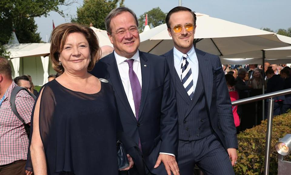 The CDU state premier of North-Rhine Westphalia, Armin Laschet – seen flanked by his wife, Susanne, and son Johannes.