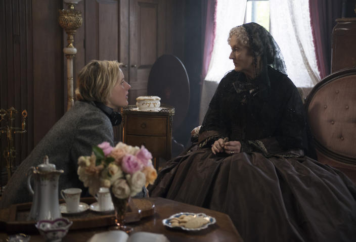 """This image released by Sony Pictures shows, writer-director Greta Gerwig, left, and actress Meryl Streep on the set of """"Little Women."""" On Monday, Jan. 13, Gerwig was nominated for an Oscar for adapted screenplay for her work on the film. (Wilson Webb/Sony Pictures via AP)"""