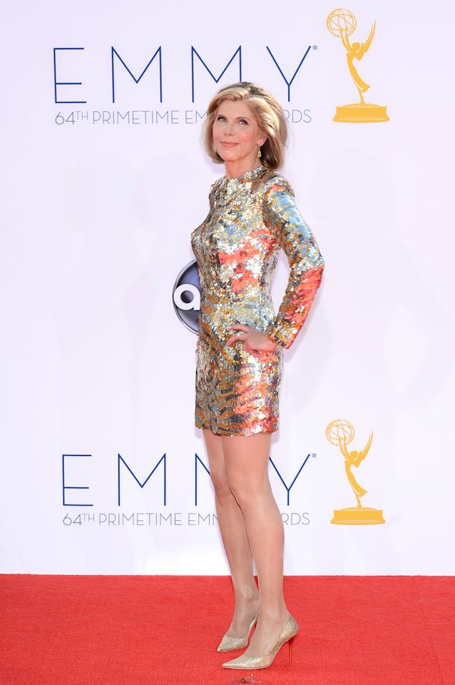 LOS ANGELES, CA - SEPTEMBER 23:  Actress Christine Baranski arrives at the 64th Annual Primetime Emmy Awards at Nokia Theatre L.A. Live on September 23, 2012 in Los Angeles, California.  (Photo by Kevork Djansezian/Getty Images)