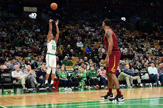 BOSTON, MA - NOVEMBER 30: PJ Dozier #50 of the Boston Celtics shoots the ball during a game against the Cleveland Cavaliers at TD Garden on November 30, 2018 in Boston, Massachusetts. (Photo by Adam Glanzman/Getty Images)