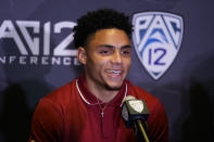 Southern California wide receiver Drake London answers questions during the Pac-12 Conference NCAA college football Media Day Tuesday, July 27, 2021, in Los Angeles. (AP Photo/Marcio Jose Sanchez)