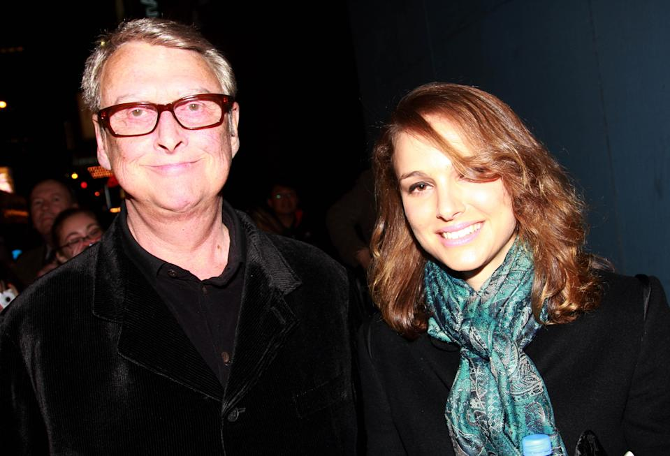 "NEW YORK - NOVEMBER 08:Mike Nichols and Natalie Portman arrive at The Opening Night of Mel Brooks New Musical ""Young Frankenstein"" on Broadway on November 8, 2007 at The Hilton Theater in New York City.  (Photo by Bruce Glikas/FilmMagic)"