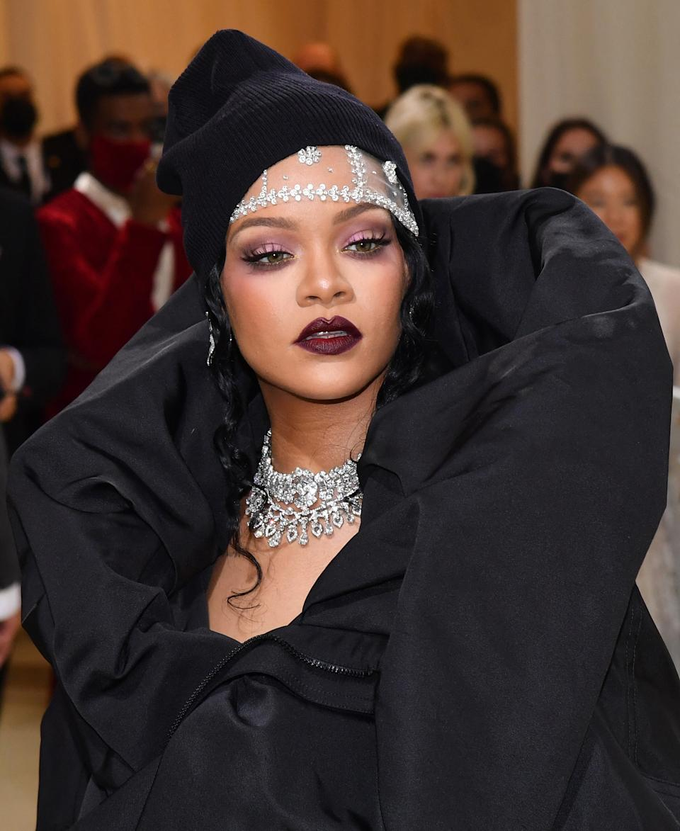 Barbadian singer Rihanna arrives for the 2021 Met Gala at the Metropolitan Museum of Art on September 13, 2021 in New York. - This year's Met Gala has a distinctively youthful imprint, hosted by singer Billie Eilish, actor Timothee Chalamet, poet Amanda Gorman and tennis star Naomi Osaka, none of them older than 25. The 2021 theme is
