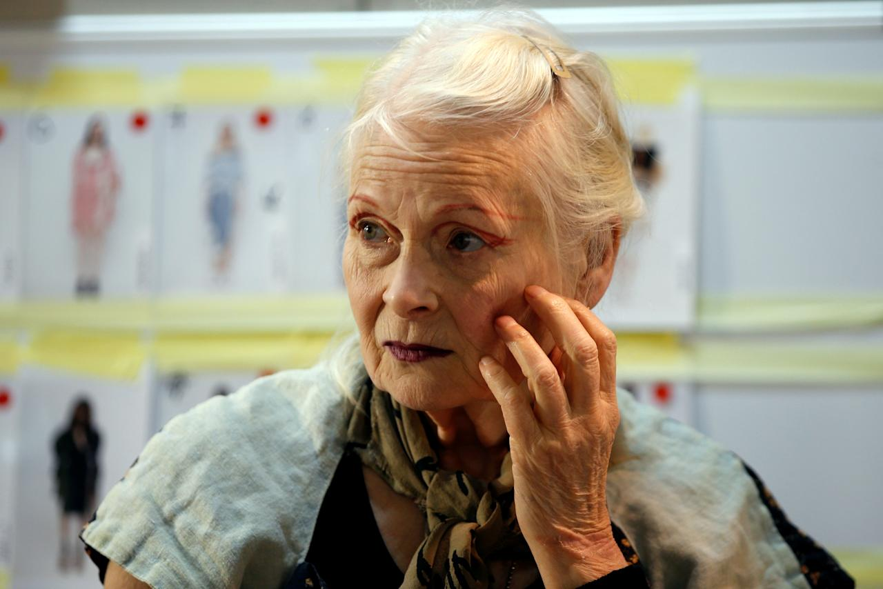 British designer Vivienne Westwood is seen backstage before her Spring/Summer 2017 women's ready-to-wear collection show during Fashion Week in Paris, France October 1, 2016. REUTERS/Charles Platiau