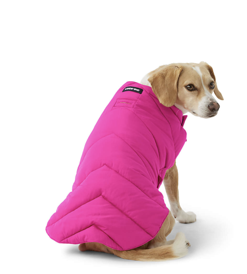 Land's End Dog Solid Puffer Vest.