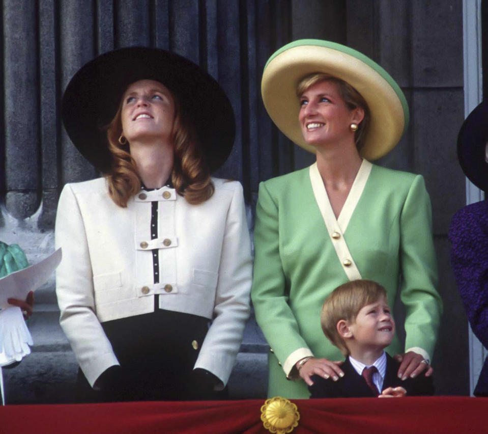 Duchess of York, Sarah Ferguson with Diana, Princess of Wales and young prince Harry. Source: Getty