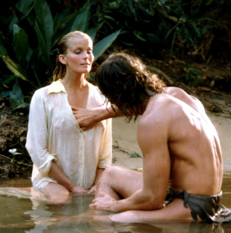 Derek and O'Keefe in an intimate scene from Tarzan, the Ape Man. (Photo: MGM/courtesy Everett Collection)