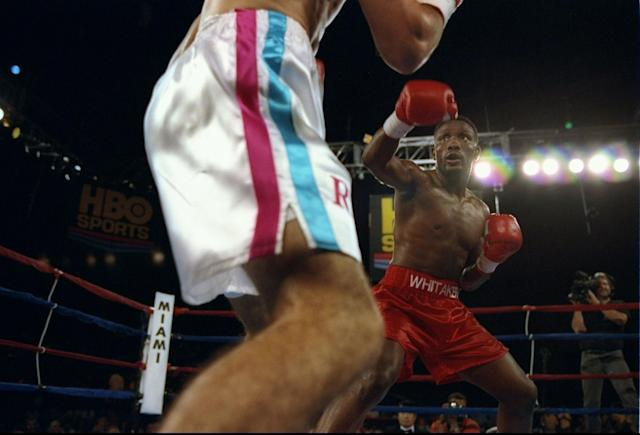 Pernell Whitaker throws a punch at Wilfredo Rivera during a fight at the James L. Knight Center in Miami, Florida. Whitaker won the fight in twelve rounds. Mandatory Credit: Al Bello /Allsport