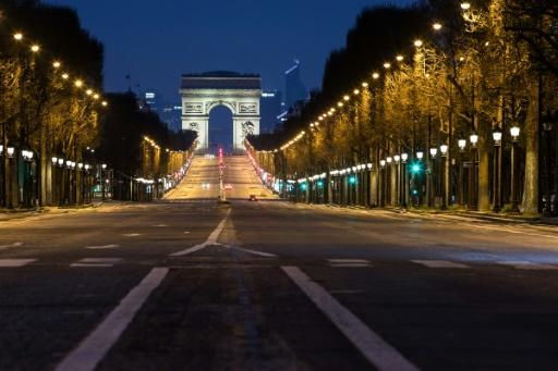 The Champs-Elysees, seen here deserted during the lockdown, marks the finish point of the Tour de France