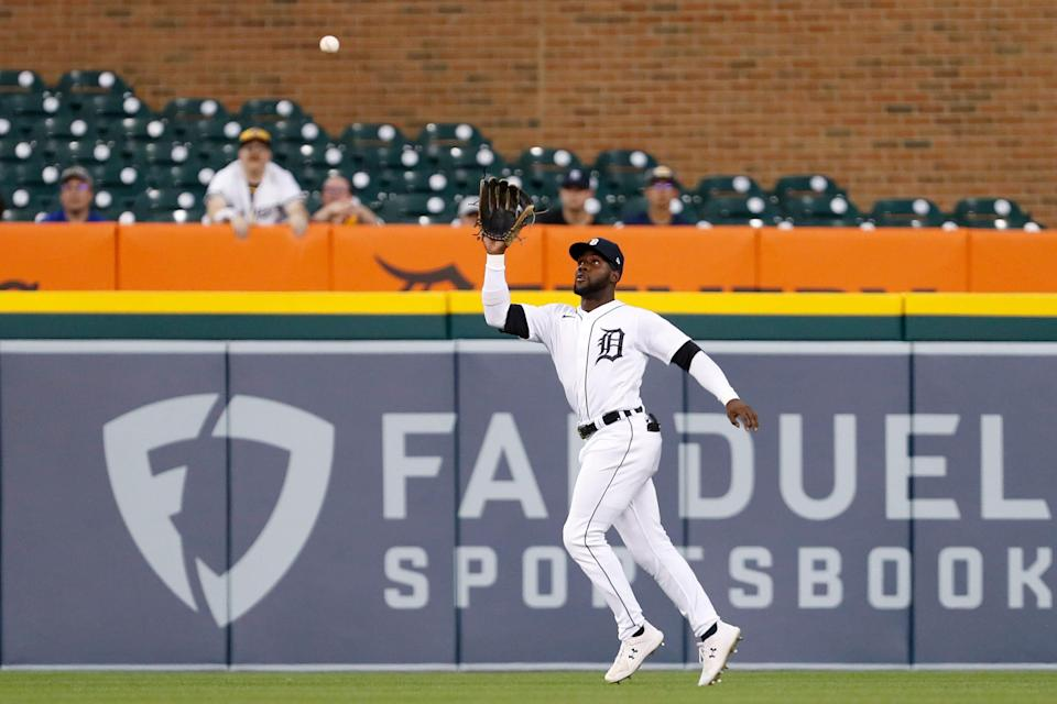 Detroit Tigers center fielder Akil Baddoo (60) makes a catch for an out against the Milwaukee Brewers during the second inning at Comerica Park on Tuesday, Sept. 14, 2021.