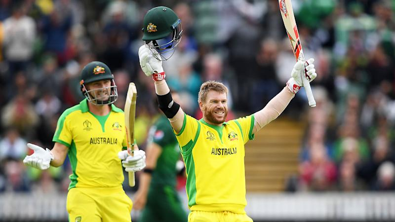 Pictured here, David Warner celebrates scoring a century at the 2019 Cricket World Cup.