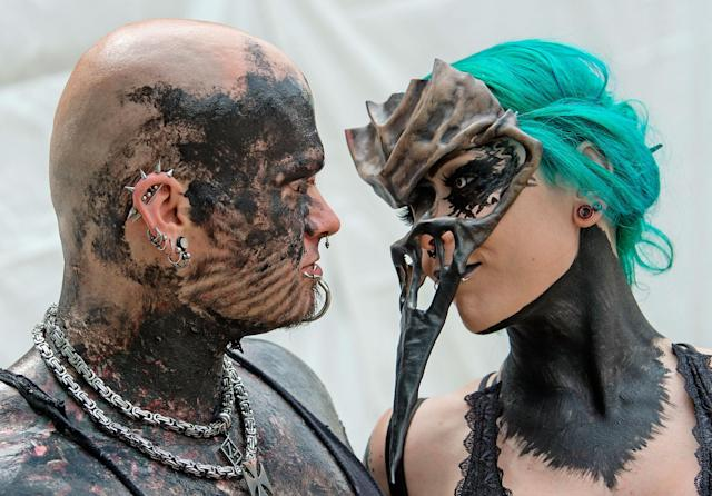 <p>Participants in fancy costumes perform during the Wave Gothic Festival (WGT) in Leipzig, Germany, Saturday, June 3, 2017. (AP Photo/Jens Meyer) </p>
