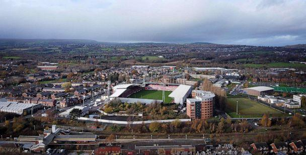 PHOTO: An arial view shows The Racecourse Ground stadium, the home of Wrexham FC, in Wrexham, Wales, Nov. 17, 2020. (Paul Ellis/AFP via Getty Images)
