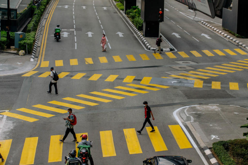General view of New scramble pedestrian crossing in Bukit Bintang June 18, 2021. The Scramble Pedestrian crossing will allow pedestrians from all directions to cross, at the same time. — Picture by Firdaus Latif