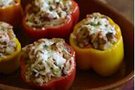 """<p>Turn leftover turkey and stuffing into a healthy(ish) day-after dinner by stuffing them in bell peppers.</p><p>Get the recipe from <a href=""""https://www.delish.com/holiday-recipes/thanksgiving/recipes/a44319/leftover-turkey-and-stuffing-stuffed-peppers/"""" rel=""""nofollow noopener"""" target=""""_blank"""" data-ylk=""""slk:Delish"""" class=""""link rapid-noclick-resp"""">Delish</a>.</p>"""