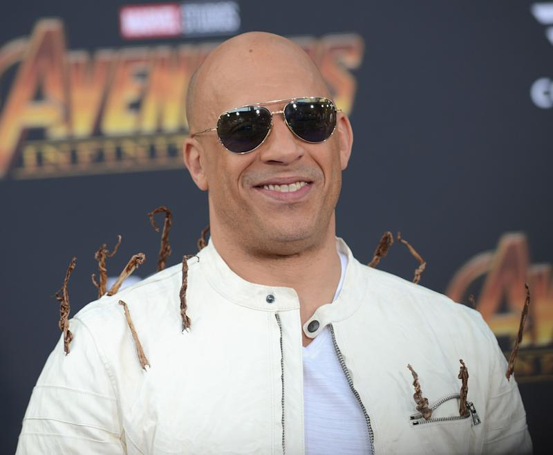 "Vin Diesel arrives at the ""Avengers: Infinity War"" premiere."