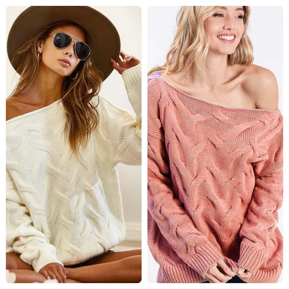 """Made with a loose, off-the-shoulder fit, you can wear this sweater and show off whichever clavicle is really feeling itself.<br /><br />The sweater comes from<a href=""""https://www.awin1.com/cread.php?awinmid=6220&awinaffid=837483&clickref=HPClothesMultipleColors-60a27070e4b063dcceac389d-&ued=https%3A%2F%2Fwww.etsy.com%2Fshop%2FMintCloudBoutique"""" target=""""_blank"""" rel=""""nofollow noopener noreferrer"""" data-skimlinks-tracking=""""5876227"""" data-vars-affiliate=""""AWIN"""" data-vars-campaign=""""MultipleColorsStuart-2-23-21-5876227"""" data-vars-href=""""https://www.awin1.com/cread.php?awinmid=6220&awinaffid=304459&clickref=MultipleColorsStuart-2-23-21-5876227&ued=https%3A%2F%2Fwww.etsy.com%2Fshop%2FMintCloudBoutique"""" data-vars-keywords=""""cleaning"""" data-vars-link-id=""""16492814"""" data-vars-price="""""""" data-vars-product-id=""""21026246"""" data-vars-product-img="""""""" data-vars-product-title="""""""" data-vars-retailers=""""etsy"""" data-ml-dynamic=""""true"""" data-ml-dynamic-type=""""sl"""" data-orig-url=""""https://www.awin1.com/cread.php?awinmid=6220&awinaffid=304459&clickref=MultipleColorsStuart-2-23-21-5876227&ued=https%3A%2F%2Fwww.etsy.com%2Fshop%2FMintCloudBoutique"""" data-ml-id=""""39"""">Mint Cloud Boutique</a>, a LA shop with all sorts of trendy designs.<br /><br /><strong>Promising review</strong>: """"I love this sweater.<strong>I had purchased the ivory one and wore it everywhere. So I ordered more — one in mint and another burgundy/wine.</strong>It arrived clean and packaged nicely. I will be ordering again 😌"""" —<a href=""""https://www.awin1.com/cread.php?awinmid=6220&awinaffid=837483&clickref=HPClothesMultipleColors-60a27070e4b063dcceac389d-&ued=https%3A%2F%2Fwww.etsy.com%2Fpeople%2F8utlyick"""" target=""""_blank"""" rel=""""nofollow noopener noreferrer"""" data-skimlinks-tracking=""""5876227"""" data-vars-affiliate=""""AWIN"""" data-vars-campaign=""""MultipleColorsStuart-2-23-21-5876227"""" data-vars-href=""""https://www.awin1.com/cread.php?awinmid=6220&awinaffid=304459&clickref=MultipleColorsStuart-2-23-21-5876227&ued=https%3A%2F%2Fwww.etsy.com%2Flisting%2F859138653%2Fw"""
