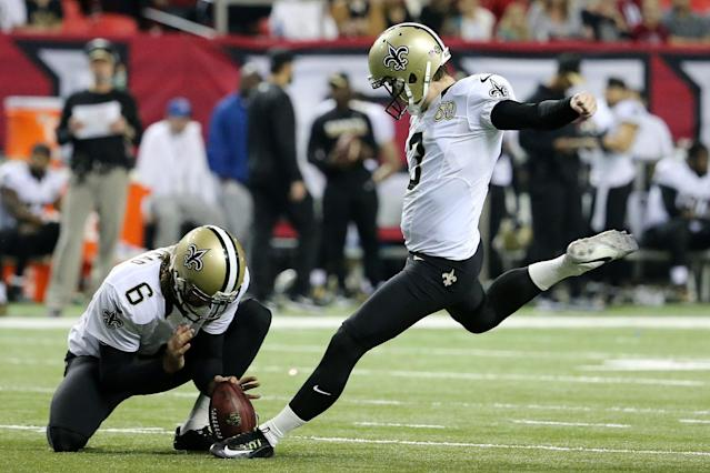 "<a class=""link rapid-noclick-resp"" href=""/nfl/players/29754/"" data-ylk=""slk:Wil Lutz"">Wil Lutz</a> is just one of the kickers our Yahoo Fantasy Football experts have at the top of their kicker rankings for Week 2. (Photo by Maddie Meyer/Getty Images)"