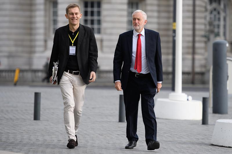 "LIVERPOOL, ENGLAND - SEPTEMBER 23: Labour Party leader Jeremy Corbyn (R) and Labour strategist Seumas Milne arrive ahead of an appearance on the Andrew Marr politics programme near the ACC Liverpool during the first day of the annual Labour Party conference on September 23, 2018 in Liverpool, England. Labour's annual conference is taking place from September 23 - September 26, held under the official slogan ""Rebuilding Britain, for the many, not the few"". (Photo by Leon Neal/Getty Images)"