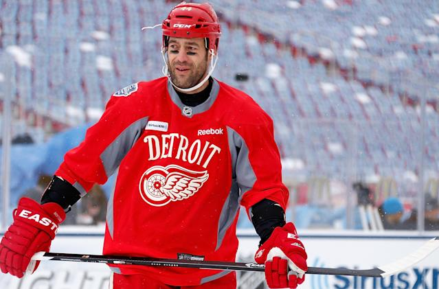 ANN ARBOR, MI - DECEMBER 31:(EDITORIAL USE ONLY) Todd Bertuzzi #44 of the Detroit Red Wings practices the day before the 2014 Bridgestone NHL Winter Classic at Michigan Stadium on December 31, 2013 in Ann Arbor, Michigan. (Photo by Gregory Shamus/Getty Images)