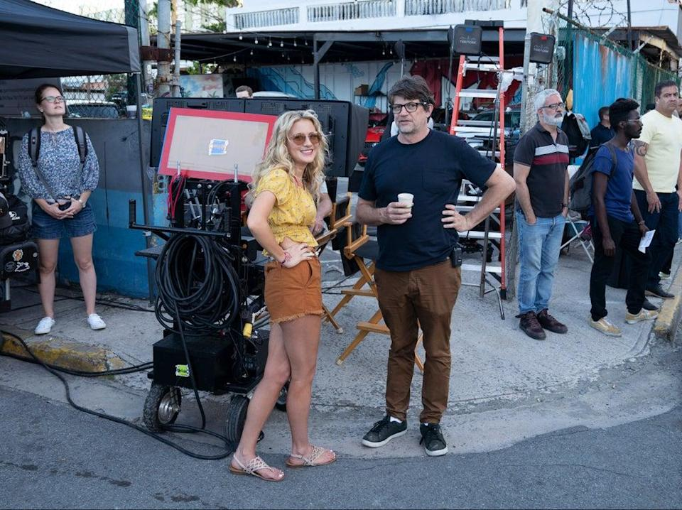Meredith Hagner and Clay Tarver on location for 'Vacation Friends' (Hulu)