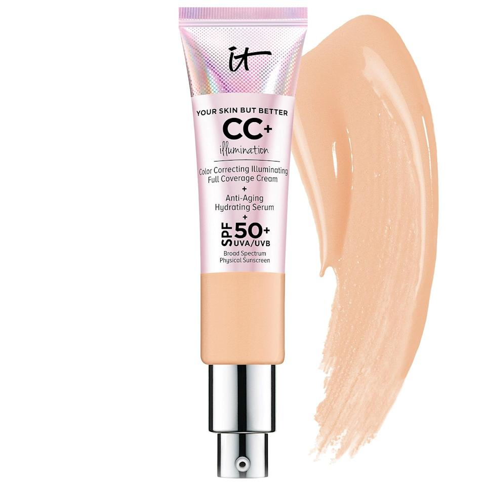 <p>If you want glowy skin, join the club. The <span>It Cosmetics CC+ Cream Illumination SPF 50+</span> ($40) is the easiest way to get there; it gives you glowing, full coverage, which is ideal for us.</p>
