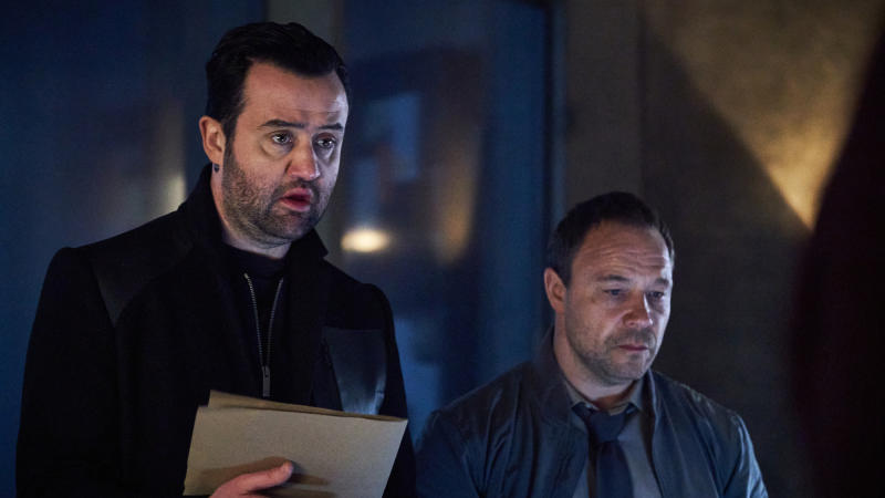 Daniel Mays and Stephen Graham in 'Code 404'. (Credit: Andrea Southam/Sky)
