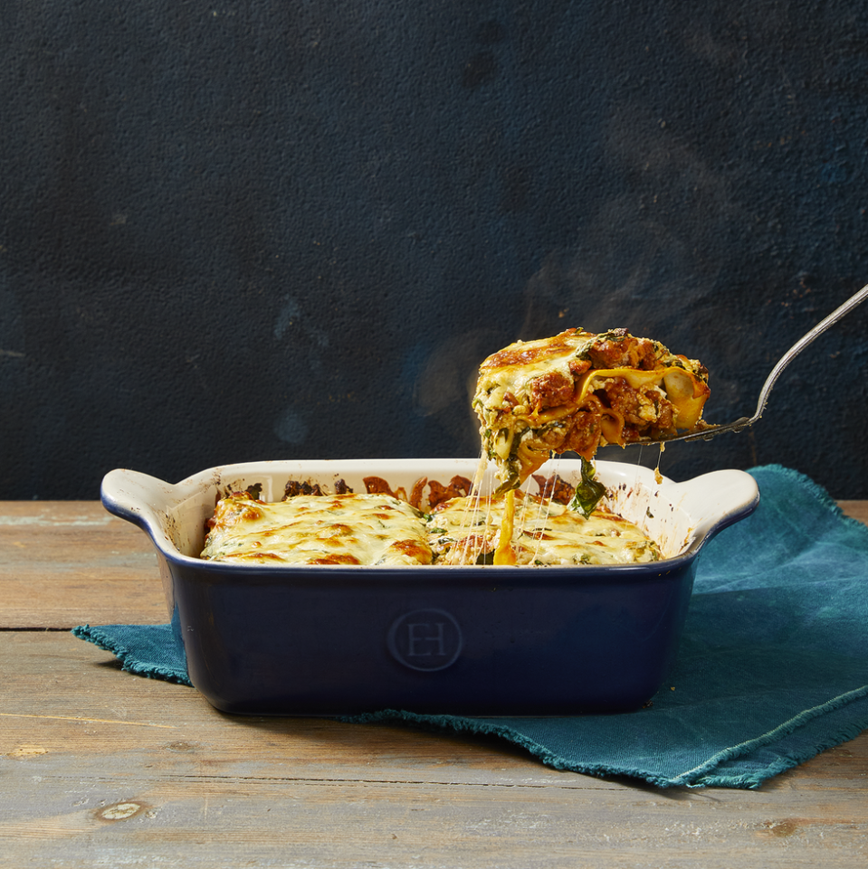 "<p>This comforting dinner is loaded with a pork meat sauce, three cheeses, spinach and herbs, and it's layered with no-boil noodles. We'll have seconds, please!</p><p><em><a href=""https://www.goodhousekeeping.com/food-recipes/a4408/classic-lasagna-meat-sauce-1339/"" rel=""nofollow noopener"" target=""_blank"" data-ylk=""slk:Get the recipe for Lasagna with Meat Sauce »"" class=""link rapid-noclick-resp"">Get the recipe for Lasagna with Meat Sauce »</a></em> </p>"