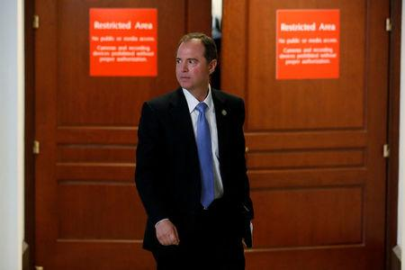 Representative Adam Schiff (D-CA) departs at the conclusion of a closed-door meeting between the House Intelligence Committee and White House senior advisor Jared Kushner on Capitol Hill in Washington, U.S. July 25, 2017.  REUTERS/Jonathan Ernst