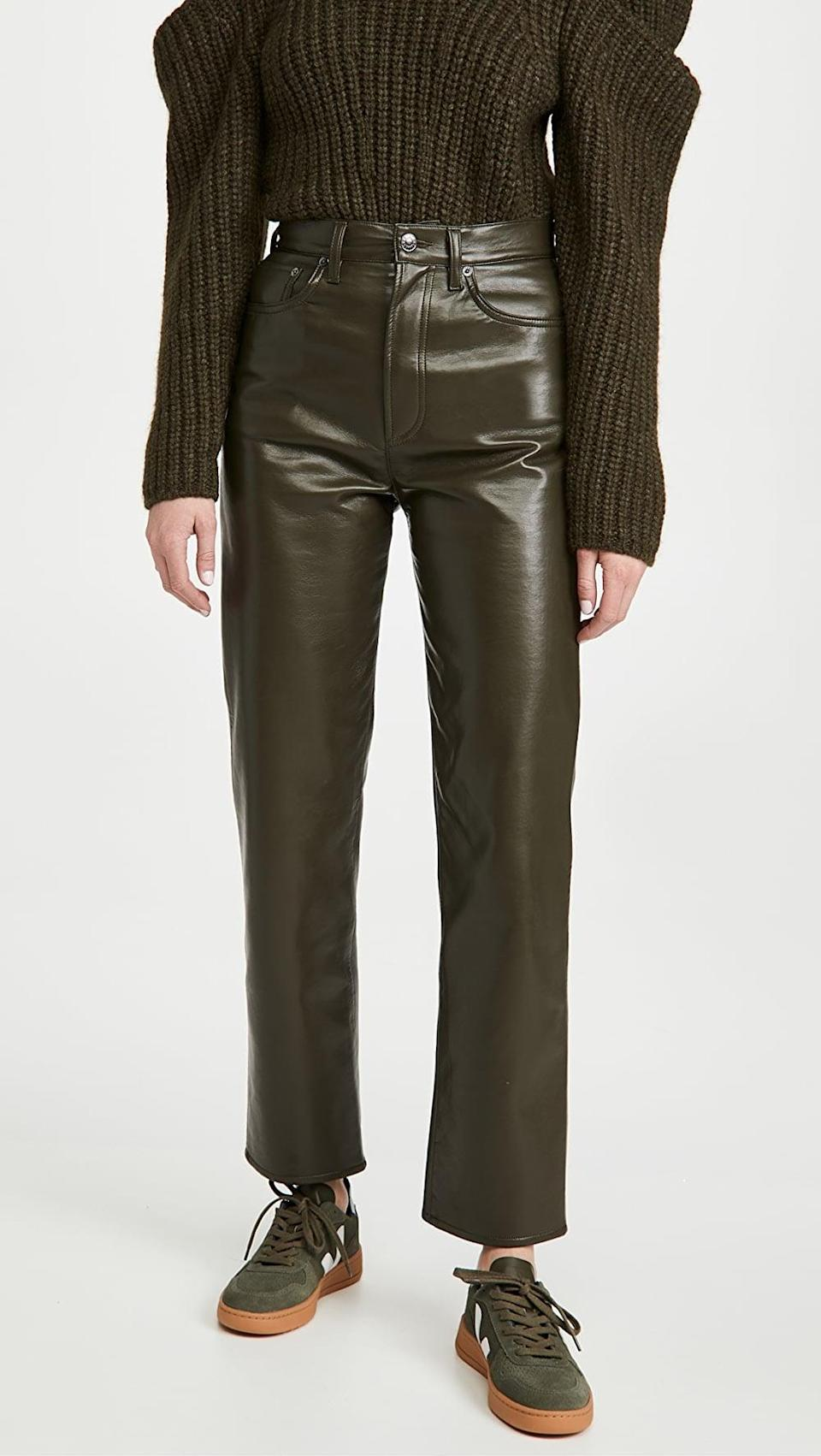 <p>Hello <span>AGOLDE Recycled Leather Fitted 90s Pants</span> ($298), we need you in our lives.</p>