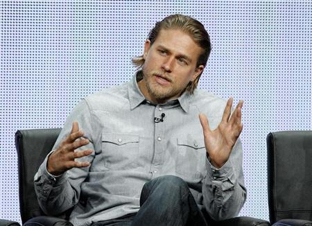 "Hunnam speaks at a panel for the television series ""Sons of Anarchy"" during the FX portion of the Television Critics Association Summer press tour in Beverly Hills"