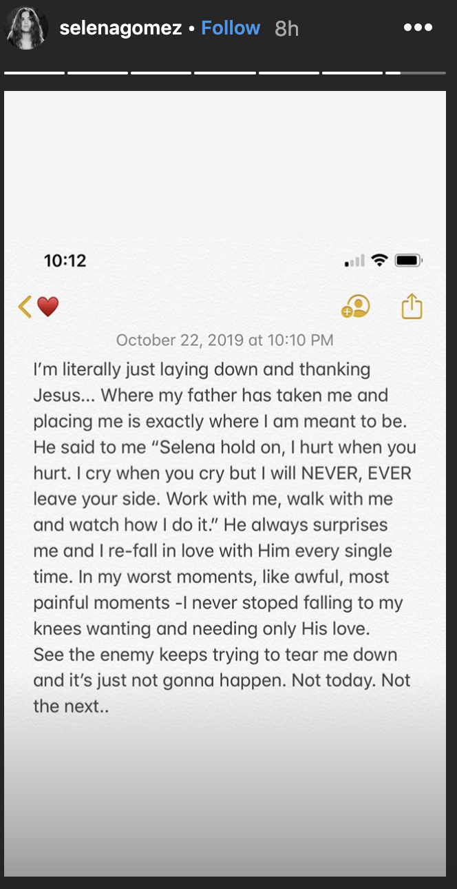 Selena Gomez seemingly responded to Hailey Bieber's post soon after. (Screenshot: Selena Gomez via Instagram)