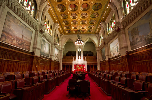 Interior of the Senate chamber in Ottawa.