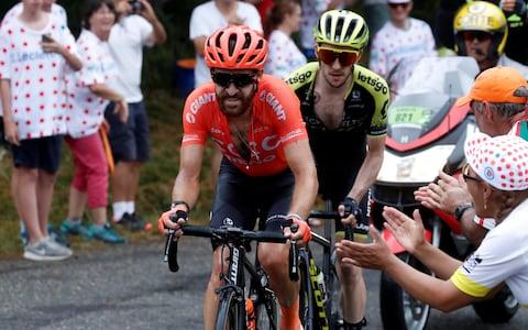 <span>Simon Geschke (left) and Simon Yates combine as they work together on the front</span> <span>Credit: REUTERS </span>
