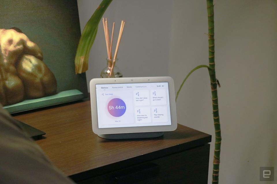 Google Nest Hub 2021 (2nd gen) photo. Picture of Google's newest smart display on a nightstand.
