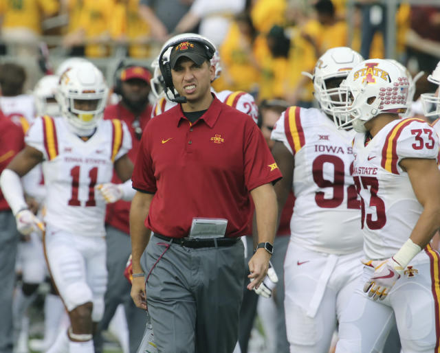 Iowa State head football coach Matt Campbell looks on during a time out against Baylor in the second half of a NCAA college football game, Saturday, Nov. 18, 2017, in Waco, Texas. Iowa State won 23-13. (Rod Aydelotte/Waco Tribune-Herald via AP)