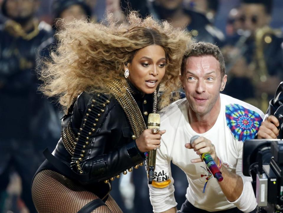 "<div class=""inline-image__caption""><p>Beyonce and Chris Martin of Coldplay perform during the half-time show at the NFL's Super Bowl 50 between the Carolina Panthers and the Denver Broncos in Santa Clara, California February 7, 2016.</p></div> <div class=""inline-image__credit"">Lucy Nicholson/Reuters</div>"