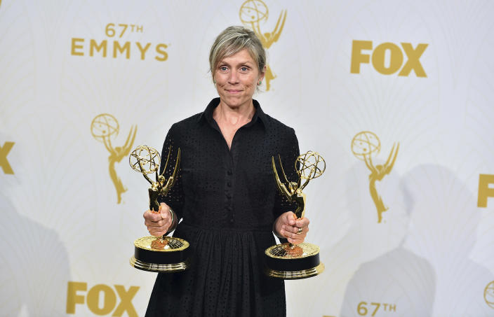 """FILE - Francis McDormand, winner of the awards for outstanding lead actress in a limited series and for outstanding limited series for """"Olive Kitteridge"""", poses in the press room at the 67th Primetime Emmy Awards on Sept. 20, 2015. McDormand turns 64 on June 23. (Photo by Jordan Strauss/Invision/AP, File)"""