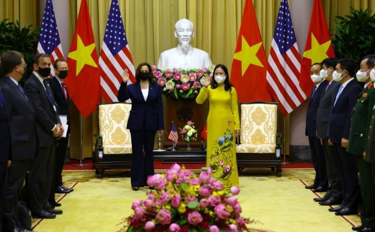 US Vice President Kamala Harris and Vietnam's Vice President Vo Thi Anh Xuan meet in the Gold Room of the Presidential Palace in Hanoi