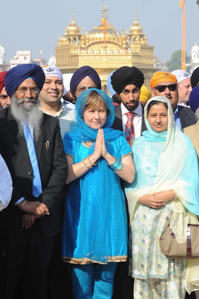 <p>British Columbia Premier Christy Clark, centre, attends the Golden temple, a major Sikh shrine, in Amritsar on Nov. 16, 2011. Clark was in India for the annual two-day India Economic Summit, held in Mumbai, and to improve bilateral relations. Photo from Narinder Nanu/AFP/Getty Images. </p>