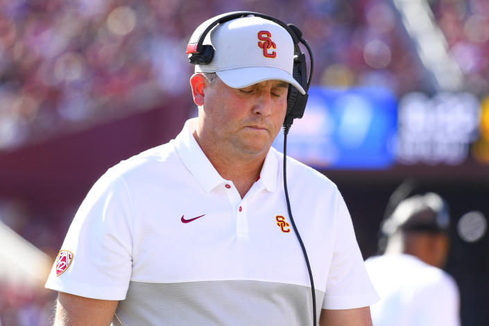LOS ANGELES, CA - NOVEMBER 23: USC Trojans head coach Clay Helton looks on during a college football game between the UCLA Bruins and the USC Trojans on November 23, 2019, at Los Angeles Memorial Coliseum in Los Angeles, CA. (Photo by Brian Rothmuller/Icon Sportswire via Getty Images)